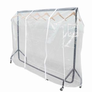 5ft Clothes Rail Cover in Clear Plastic with Zips