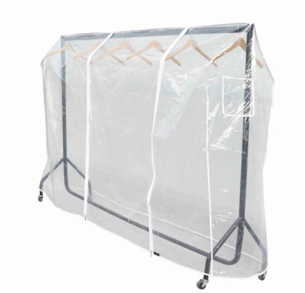 4ft Clothes Rail Cover in Clear Plastic with Zips