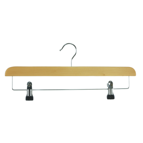 wooden hanger trouser with clips 39cm front 402-630