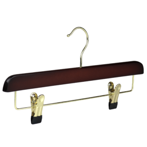 wooden walnut hanger trouser with clips 35cm 402-778