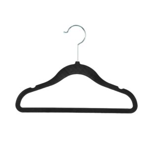 Kid's, Child's flocked velvet hanger 30cm black 403-100