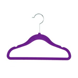 Kid's, Child's flocked velvet hanger 30cm purple 403-106