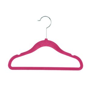 Kid's, Child's flocked velvet hanger 30cm pink 403-112