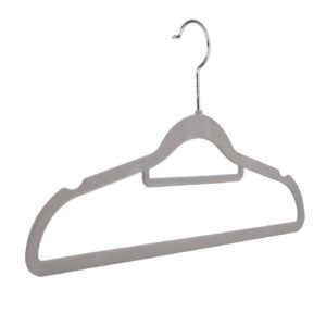 Velvet flocked, slimline knitwear hangers, multiple colours, grey, 42cm 403-146