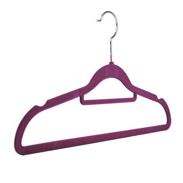 Velvet flocked, slimline knitwear hangers, multiple colours, purple, 42cm, 403-152