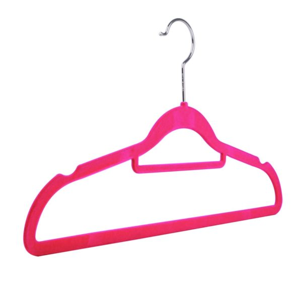 Velvet flocked, slimline knitwear hangers, multiple colours, pink, 42cm, 403-158