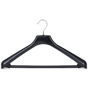 Black plastic suit hanger with bar and hooks SA42 404-114