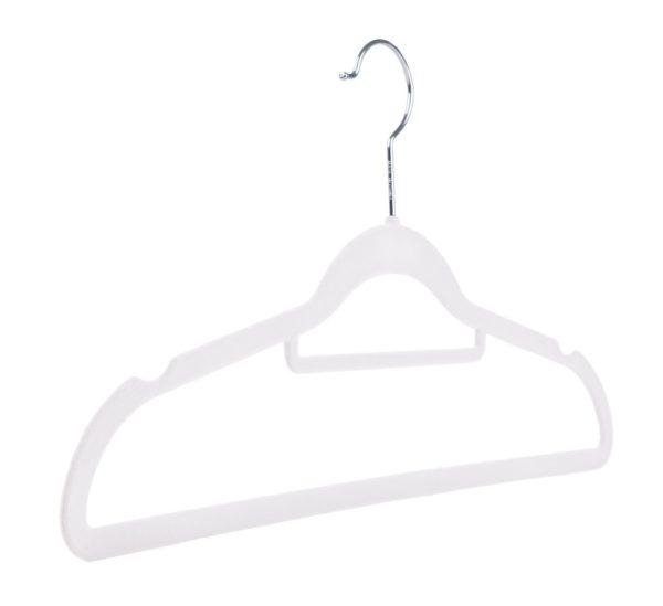 42cm slimline velvet flocked coat hanger white
