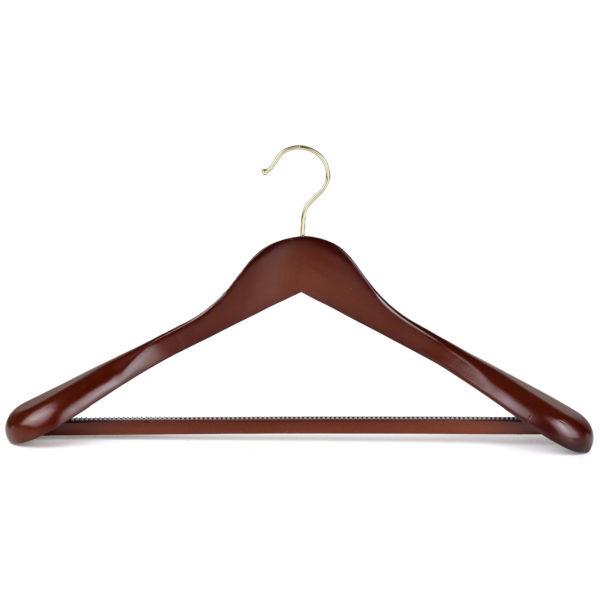 45cm walnut wooden mens broad suit hanger 402 782 front view