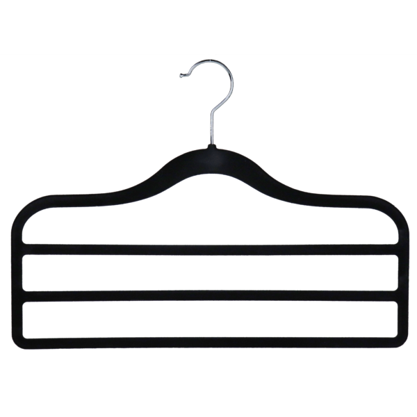 flocked velvet non slip trouser hanger 3 bar black 403-300