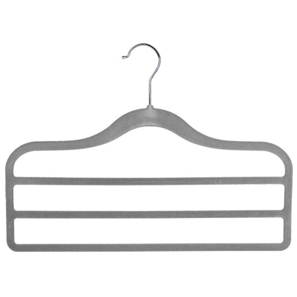 flocked velvet trouser hanger 3 bar grey 403-306